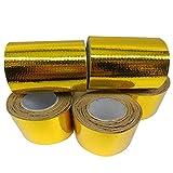 Alftek 3 Rollen Aluminiumfolie Klebstoff 50mm * 5 mt Reflektierende Hochtemperatur Hitzeschild Wrap Tape