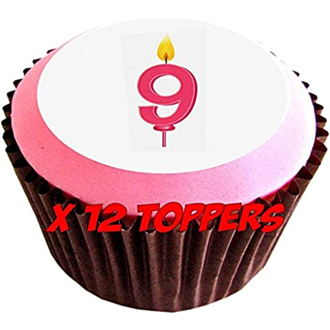 Candela da compleanno 9 edible cake toppers (Confezione di 12