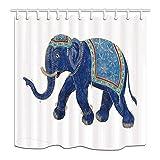 cdhbh Ethnic Bad Vorhang Ethnic Elefant mit asiatischen Watercolor Stil Artwork Polyester-vor Weiß Hintergrund-Wasserdicht Vorhang für die Dusche für Badezimmer 180,3x 180,3cm Vorhänge Dusche Haken im Lieferumfang enthalten