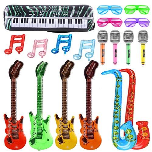 U&X Inflables Accesorios de Instrumentos Musicales Guitarra Saxofón Micrófono Gafas Globos para decoración de Fiesta Prop (19 PCS)
