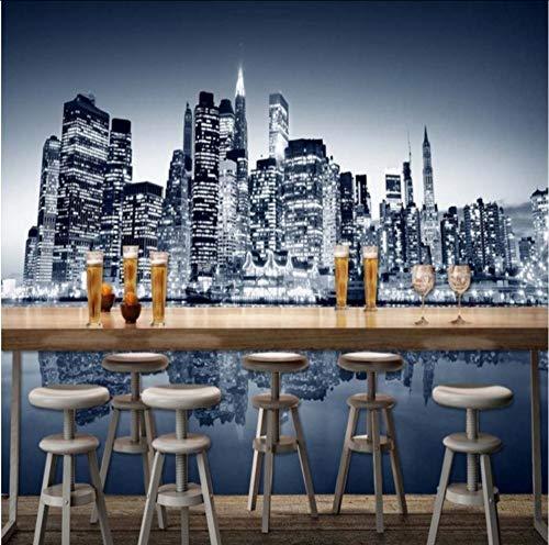 Hwhz Wallpaper 3D Benutzerdefinierte New York City Moderne Hochhaus Fotografie Hintergrund Wallpaper Restaurant Bar Einkaufszentrum WandbildB-350X250Cm