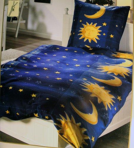 KH-Haushaltshandel Fleece Winter Bettwäsche, 135 x 200 + 80x80 cm, Blau Gelb,Sonne Mond + Sterne, Microfaser