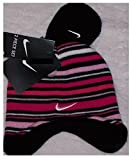 Nike Toddler Girls Pink/Black Striped Knit Hat and Mittens Set Size 2/4T