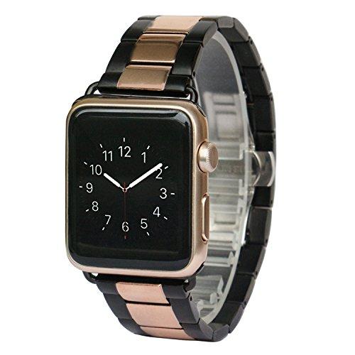 AWStech Ersatz-Armband für Apple Watch, 42mm, Edelstahl mit Doppelfaltschließe (Blackberry Gold Classic)