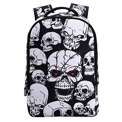Mochila Calaveras Hombre Mujer Punk Rock Cartera Estudiante Bolsas Escolares Juveniles Backpack Skull Rucksack Travel Laptop Daypack Portátil Mochila Estampada 8D Craneo para Adolescente School Bag