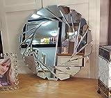 Premierinteriors Art Deco Wandspiegel Rund Facettenschliff Schwarz Rahmen Glas 60cm Swirl Design