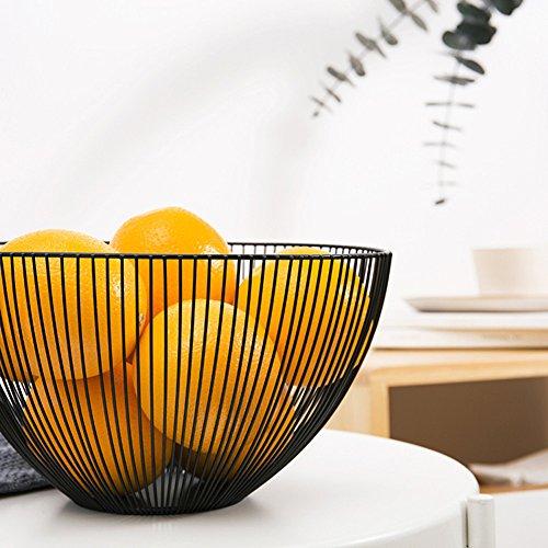Elven Panier Corbeille à Fruit Design - Corbeille à Fruits Original métal - Noir/Marro