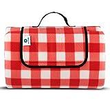 Die besten Picknick-Zeit Decken - Simplehome Picknickdecke XXL rot weiß karriert 200x200 wasserdicht Bewertungen
