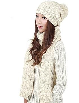 MINAKOLIFE Mujer El invierno de las hizo punto el paquete de la bufanda y del sombrero Cráneo gorra