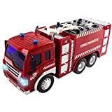 IndusBay Fire Station Fire Rescue Red Fire Brigade Truck Toys For Kids With Lights Sounds 1:16 - Fire Engine Truck