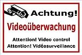 Schild – Achtung Videoüberwachung – 3-sprachig – 15x10cm, 30x20cm, 45x30cm, 60x40cm – Bohrlöcher Aufkleber Hartschaum Aluverbund -S00348-006-B