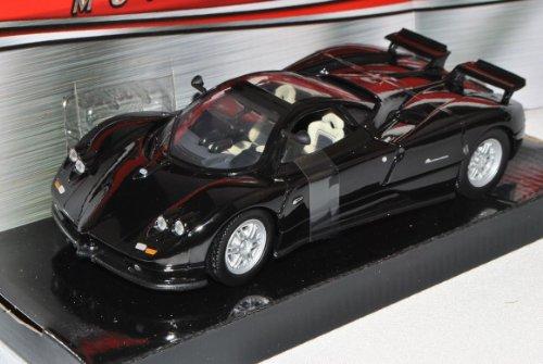 Pagani Zonda C12 Coupe Schwarz 1/18 Motormax Modell Auto mit individiuellem Wunschkennzeichen Sammlerstücke