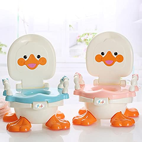 3-in-1 Potty Chair for Boys, Girls – Fun Baby Travel Toilet Trainer Converts from Bowl, Training Seat, to Step Stool – Removable Parts & Portable - Easy to Clean – Best for Parents, Toddlers, (Duck) (Blue)