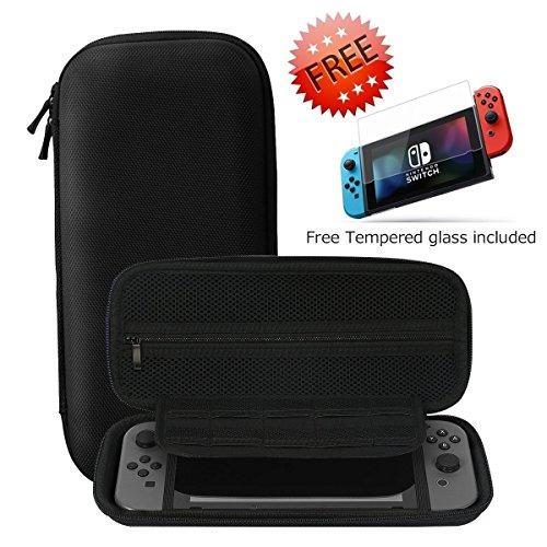 Nintendo Switch Funda + Protector de Pantalla de Vidrio Templado de Alta Calidad, SHareconn Portátiles Portátil duro de Viaje Bolsa de Almacenamiento con 10 Cartuchos de Juego (Negro)