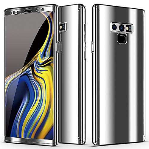 kompatible Samsung Galaxy NOTE 8   NOTE 9 Hülle slim mirror Handyhülle 3 in 1 Ultra Dünner PC Hardcase Cover 360 Grad Schutzhülle Handytasche panzerglas schutzfolie (Note 8, Silber) Grad Pet Screen Protector