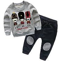 Hawkimin Kinder Baby Mädchen Jungen Pullover Sweatshirt Cartoon Tops + Hosen Outfits Kleidung Set