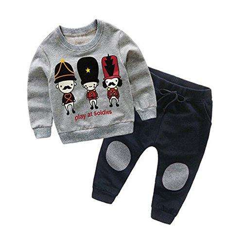 Kinderkleid Honestyi Kinder Baby Mädchen Jungen Pullover Sweatshirt Cartoon Tops + Hosen Outfits Kleidung Set (Grau,90 100 110 120 130)