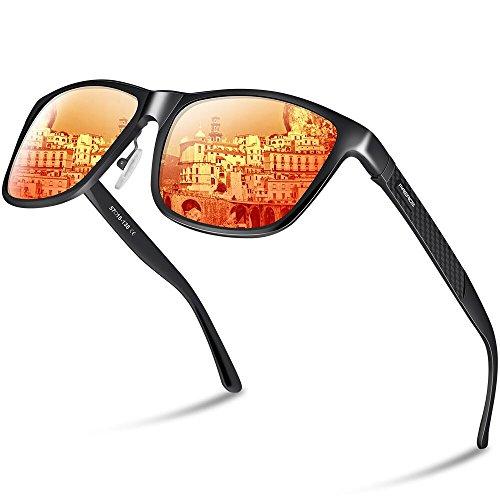PAERDE Unisex Retro Al-Mg Metallrahmen polarisierte Sonnenbrille für Männer Frauen (Schwarzer Rahmen&Rote Linse)