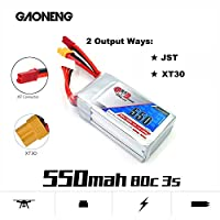 FancyWhoop GNB 550mAh 3S LiPo Battery 80C 11.1V XT30 JST Connector for FPV Racing Drone by FancyWhoop
