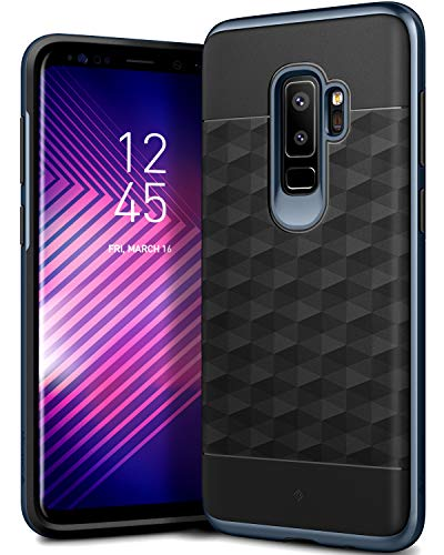 Caseology Parallax Series Case Designed for Galaxy S9 Plus with Slim Fit Geometric Cover and Enhanced Drop Protection for Samsung Galaxy S9 Plus (2018) - Black/Deep Blue
