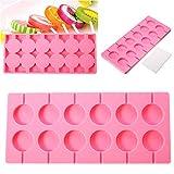Molde redondo de silicona para piruletas, gelatina, caramelo, hielo, galletas, paleta de chocolate, molde para hornear + 100 palos de color rosa