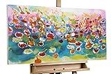 KunstLoft® Acryl Gemälde 'Welcome to Paradise' 100x50cm | original handgemalte Leinwand Bilder XXL | Abstrakt Bunt Blumen Feld Deko | Wandbild Acrylbild moderne Kunst einteilig mit Rahmen