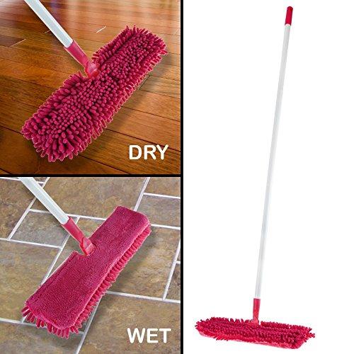Swivel Mop (2in 1Mega Mikrofaser Mop Pink 360drehbar FLIP ACTION Doppelseitige Mop Kopf Nass oder Trocken Bodenreiniger Staub Sweeper)