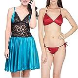 Klamotten Satin Women Sexy Nightwear and Bikini Set Combo 11M-07T Image
