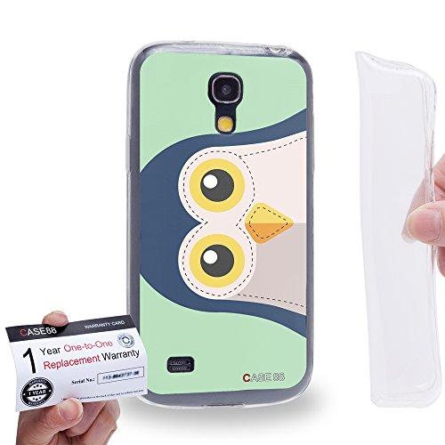 Case88 [Samsung Galaxy S4 Mini] Gel TPU Carcasa/Funda & Tarjeta de garantía - Art Penguin Animals Patches Series Art1638