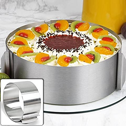 lzn Stainless Steel Circle Cake Ring Mould Adjustable 16cm - 30cm