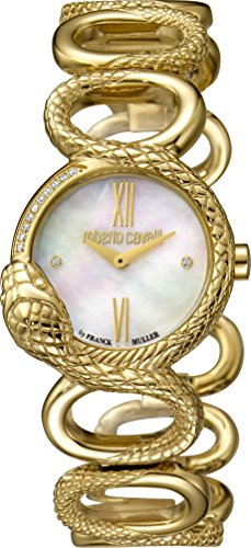 Roberto Cavalli rv2l018m0026de las mujeres esfera de color blanco nacarado con oro amarillo banda reloj de acero inoxidable.