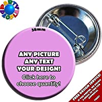 Party People 10 x 38mm PERSONALISED CUSTOM BADGES (Buttons)