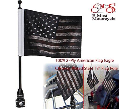 Usa Flag Kit (E-Most Verstellbar 15,2x 22,9cm American Flagge + Fahnenstange Halterung, Gepäck Rack/Fender, für Harley Davidson Honda Goldwing CB VTX CBR Yamaha USA Flag Kit)