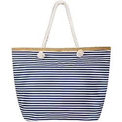 Czemo Bolsa de Playa Grande con Cremallera de Mujer Bolso de Mano Shopper Bolsa Totalizadores del Recorrido,Raya azul