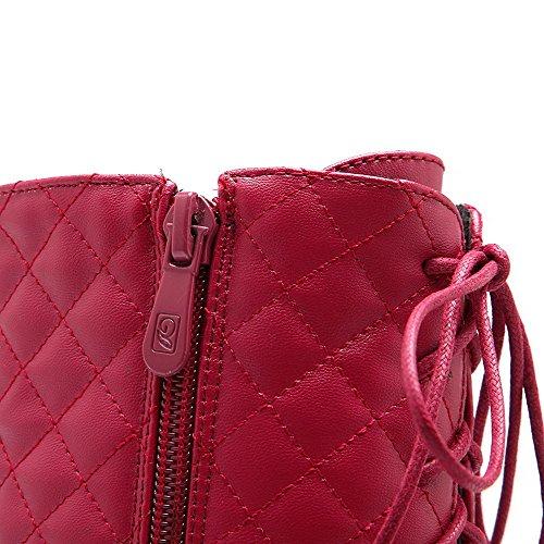 VogueZone009 Donna Punta Tonda Bassa Altezza Tacco Alto Puro Luccichio Stivali Rosso