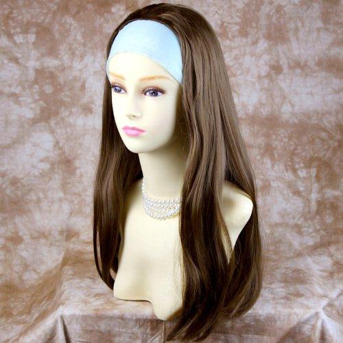Marron Clair 3/4 Perruque Pièce Extension de cheveux Longue Raide Demi Perruque Résistante à la Chaleur
