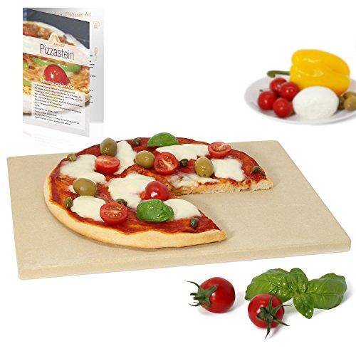 Amazy Pizzastein – Verleiht Ihrer Pizza den original italienischen Geschmack knusprig-zarter Steinofenpizza (38 x 30 x 1,5 cm)