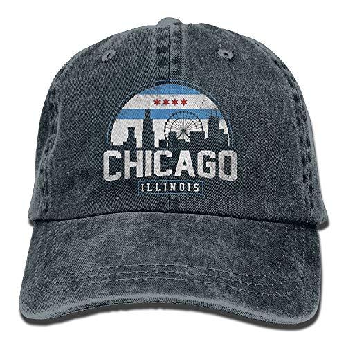 DDHHFJ Unisex Chicago City Flag Skyline USA Washed Denim Cotton Baseball Hat Sport Outdoor Adjustable One Size Black (City Sports Newsboy Caps)