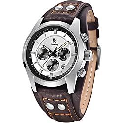 Alienwork Quartz Watch Multi-function Wristwatch vintage sport Leather white brown K008GA-04
