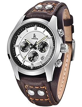 Alienwork Quarz Armbanduhr Multi-funktion Quarzuhr Uhr vintage sport weiss braun Leder K008GA-04