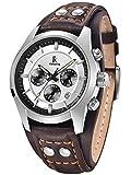 Alienwork Quartz Watch Multi-function Wristwatch vintage sport Leather white brown K008GA-04