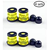Skateboard longboard Truck Bushings Gommes HR-90A with washers and pivot cups 4-Sets (Jaune transparent)