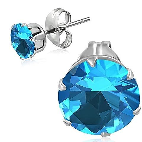 Bungsa® aquamarine crystal round earring 4mm 1Pair Stainless Steel Earrings Clips Men Women Light Cubic Zirconium Crystal Women Fashion Studs Earrings)