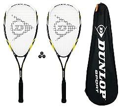 Dunlop Nanomax Pro Raquetas Squash + Funda + 3 Pelotas De Squash