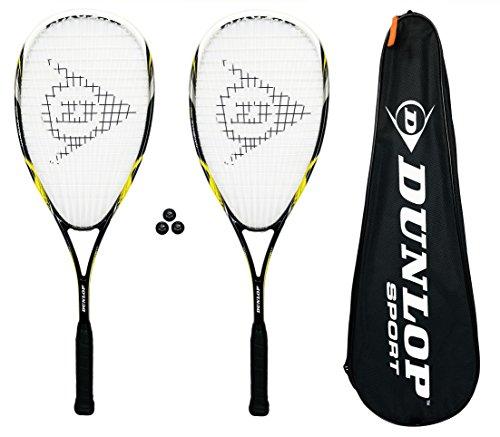 Dunlop - Squashschläger 2 Stück Nanomax Pro + Hülle + 3 Squashbälle