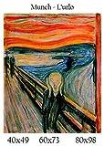 Stampa in Tela Canvas 100% QUALITà ITALIA - Munch - L'urlo effetto Dipinto Idea Regalo Casa quadro cucina stanza da letto soggiorno (60x73)