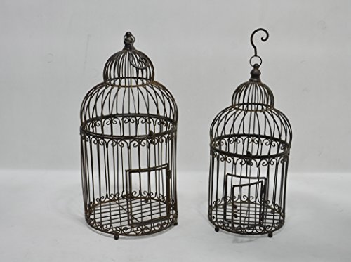 Deko Vogelkäfig Antik-Look Metall 2er Set 66/56 cm braun