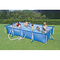 Intex 28274FR - Kit de piscina tubular, estructura de metal azul, 4,5x 2,2x 84cm, 7100L