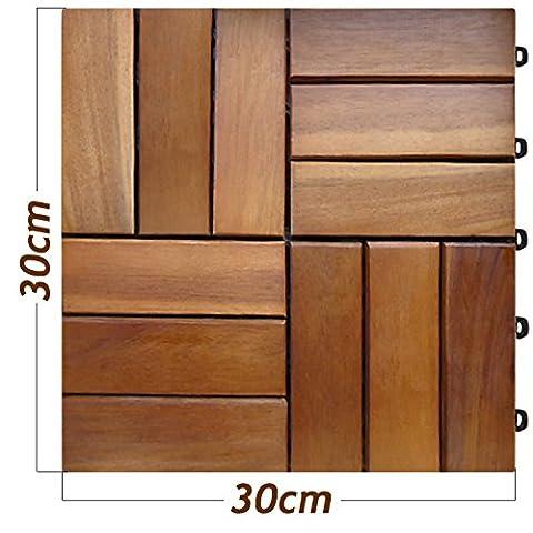 30 Pcs Acacia Wood Garden and Patio Deck Tile - 30x30 cm 2.7 m² - Terrace and Balcony Decking Tiles