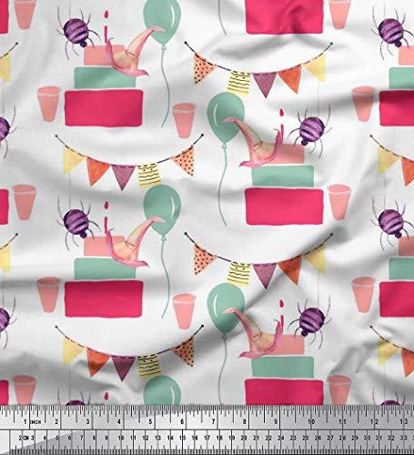 Soimoi Weiß Georgette Viskose Stoff hängende Fahne, Geschenk-Box & Ballon Party Dekor Stoff gedruckt 1 Meter 42 Zoll breit
